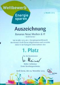Urkunde des Energiespar Wettbewerb des Kreises GG