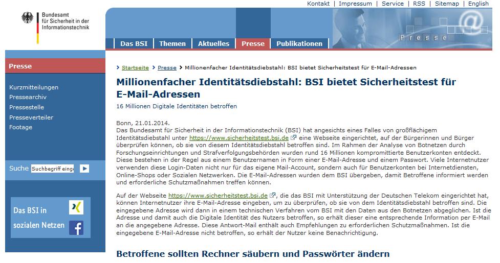 BSI: Mehrere Millionen Internet-Konten durch Botnetze geknackt